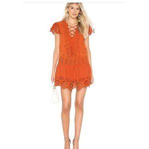 Free People Womens Orange Eyelet Mini Mini Dre